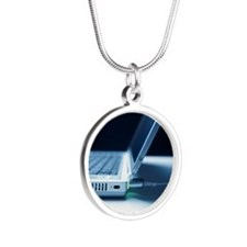 Laptop computer - Silver Round Necklace