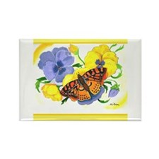 Brown Buterfly and Pansies Rectangle Magnet