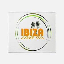 Ibiza I Love It Art Illustration Throw Blanket