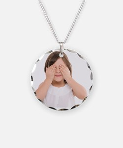 Girl covering her eyes - Necklace