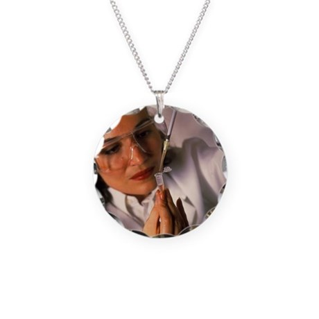 ion into a microtube - Necklace Circle Charm
