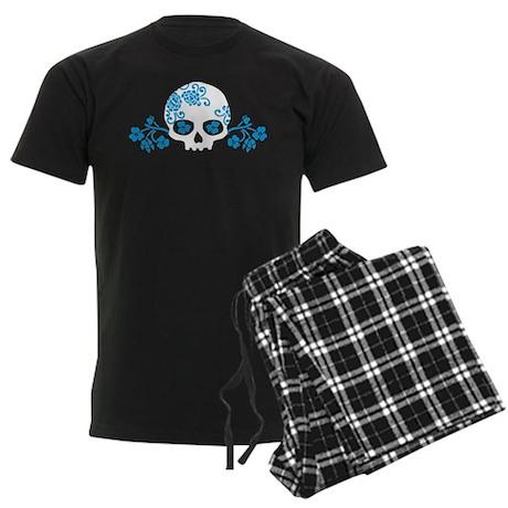 Skull With Blue Blossoms Men's Dark Pajamas