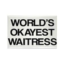 World's Okayest Waitress Rectangle Magnet