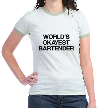 World's Okayest Bartender Jr. Ringer T-Shirt