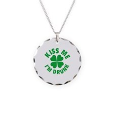 Kiss Me I'm Drunk Necklace Circle Charm