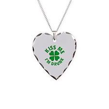 Kiss Me I'm Drunk Necklace Heart Charm