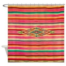 Vintage Pink Mexican Serape Shower Curtain