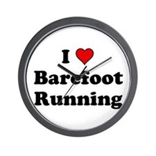 I Heart Barefoot Running Wall Clock