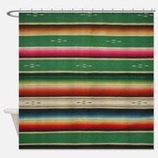 Vintge Green Mexican Serape Shower Curtain