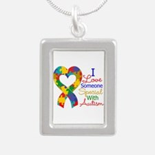 I Love Someone With Autism Silver Portrait Necklac