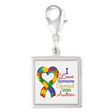 I Love Someone With Autism Silver Square Charm