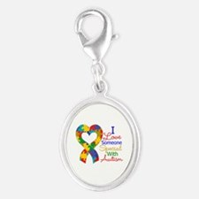 I Love Someone With Autism Silver Oval Charm