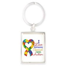 I Love Someone With Autism Portrait Keychain