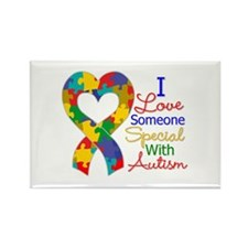 I Love Someone With Autism Rectangle Magnet (10 pa