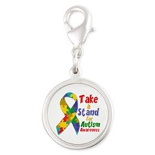Take a Stand For Autism Silver Round Charm