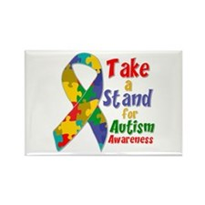 Take a Stand For Autism Rectangle Magnet