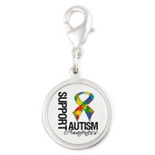 Support Autism Awareness Silver Round Charm
