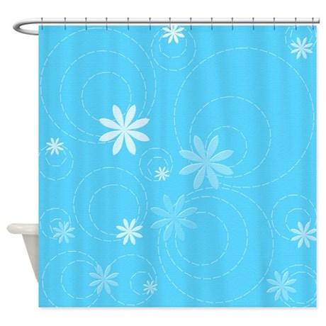 Aqua Flowers And Swirls Shower Curtain By Cheriverymery