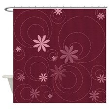 Burgundy Flowers and Swirls Shower Curtain