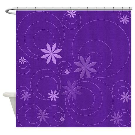 Purple Flowers and Swirls Shower Curtain