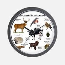 Wisconsin State Animals Wall Clock