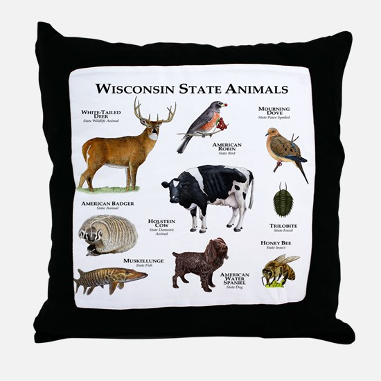 Wisconsin State Animals Throw Pillow