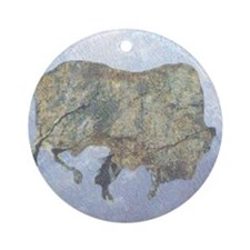 Stone Buffalo Winter Ornament (Round)