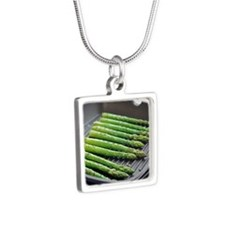 Asparagus spears - Silver Square Necklace