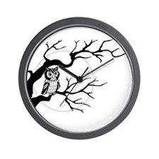 owl on full moon Wall Clock