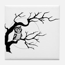 owl on full moon Tile Coaster
