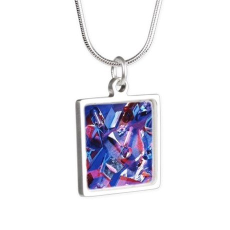 Drug abuse - Silver Square Necklace