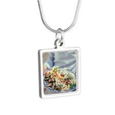 Seafood plate - Silver Square Necklace