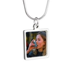 inhaler for asthma - Silver Square Necklace
