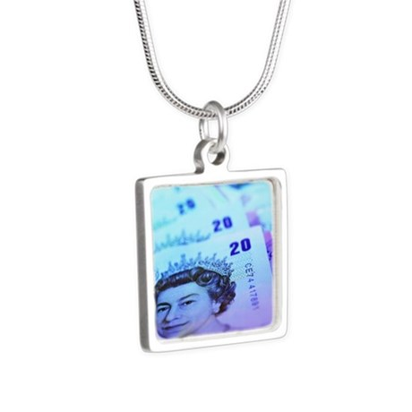 British currency - Silver Square Necklace