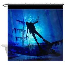 underwater wreck diver shower curtain copy Shower