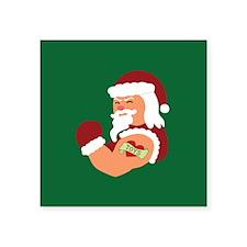 """Santa Tattoo Square Sticker 3"""" x 3"""""""