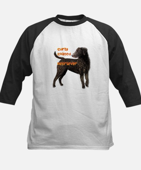 Curly Coated Retriever Kids Baseball Jersey