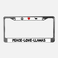 Peace-Love-Llamas License Plate Frame