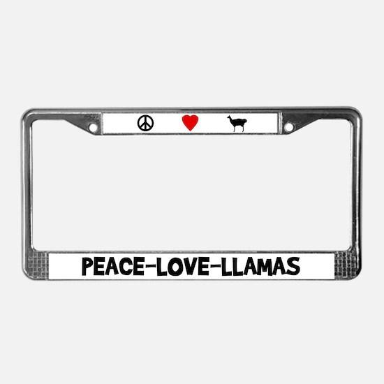 Peace-Love-Llamas License Plate Frame