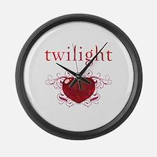Twilight Fire Heart Large Wall Clock