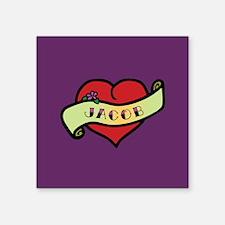 """Jacob Heart Tattoo Square Sticker 3"""" x 3"""""""