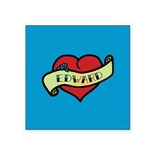 "Edward Heart Tattoo Square Sticker 3"" x 3"""