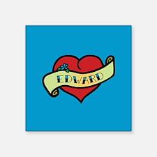 """Edward Heart Tattoo Square Sticker 3"""" x 3"""""""