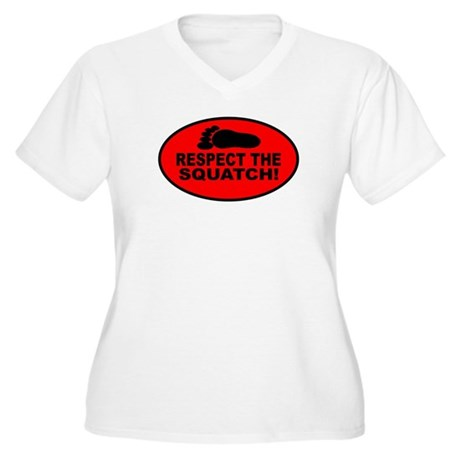 Red RESPECT THE SQUATCH! Women's Plus Size V-Neck