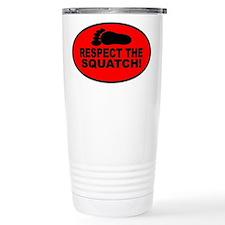 Red RESPECT THE SQUATCH! Travel Mug