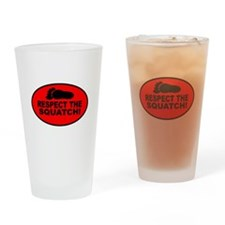 Red RESPECT THE SQUATCH! Drinking Glass