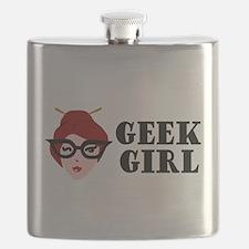 Brown Geek Girl Flask