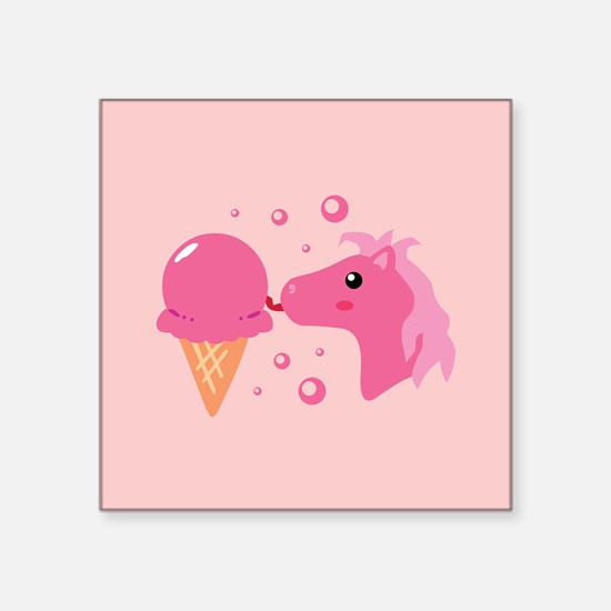 "strawberryponycards2.png Square Sticker 3"" x 3"""