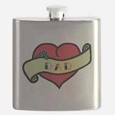 Dad Tattoo Heart Flask