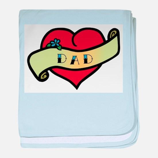 Dad Tattoo Heart baby blanket